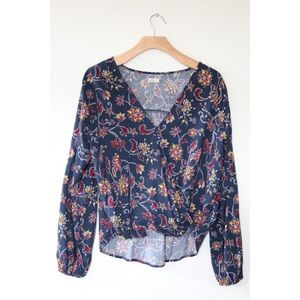Hollister Patterned Twist Wrapped Top